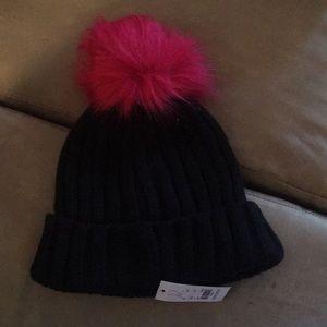 Black hat with pink Pom Pom